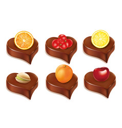 chocolate heart candy with orangecherry apricot vector image