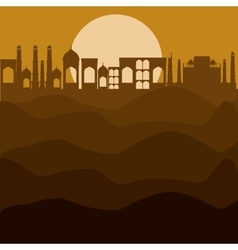 City sun and desert design vector
