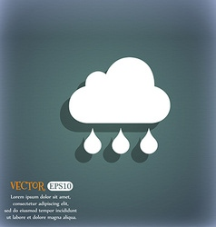 cloud rain icon On the blue-green abstract vector image