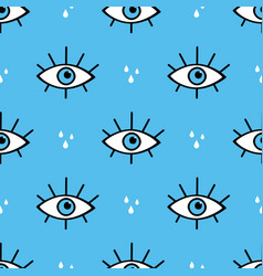 Conceptual eyes symbols and tears seamless pattern vector