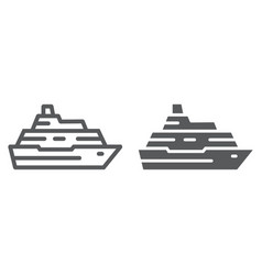 Cruise ship line and glyph icon travel and vector