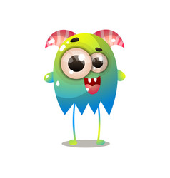cute green blue monster with red horns and long vector image