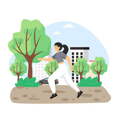 daily life young woman running in park flat vector image
