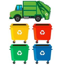Different color trashcans and truck vector image