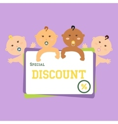 Discount funny babies large banner vector
