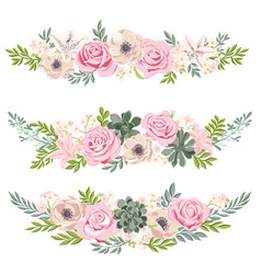 Drawing flowers set vector