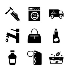 dry cleaning glyph icons pack vector image