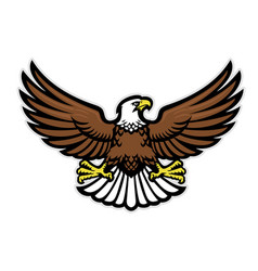 Eagle mascot spreading wings vector