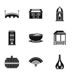 European street icons set simple style vector