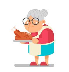 Family recipe fried chicken turkey grandmother vector