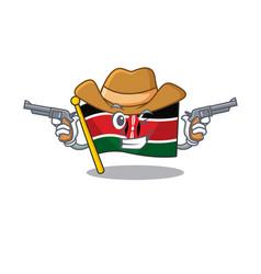 Flag kenya cowboy cartoon with character happy vector