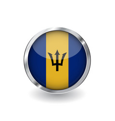 flag of barbados button with metal frame and vector image