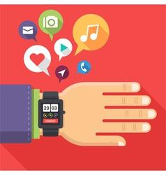 Flat hand watch vector image