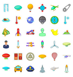 flying transport icons set cartoon style vector image