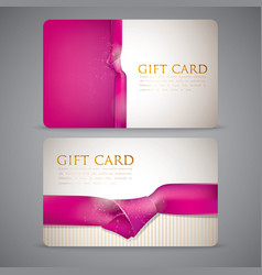 Gift cards with pink ribbons vector