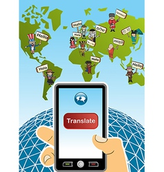 Global translation smart phone world map vector