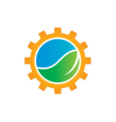 green leaf with gears logo image vector image
