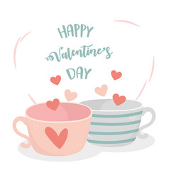 Happy valentines day lovely coffee cups hearts vector