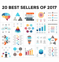 infographics set 20 best sellers of 2018 vector image