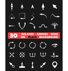 Isolated arrows signs on black background vector image