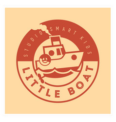 Kids club logo with little boat cute kindergarten vector