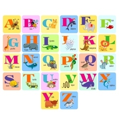 kids full alphabet with cartoon animals vector image