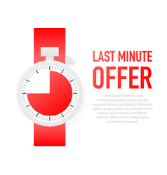 Last minute offer with clock sign banner business vector