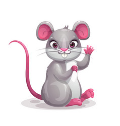 little cute cartoon gray baby mouse symbol vector image