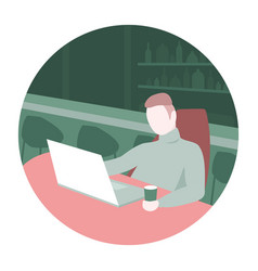 Man sitting in a bar with laptop vector