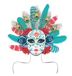 Mask with roses and feathers vector