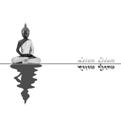Meditating Buddha posture in silver vector