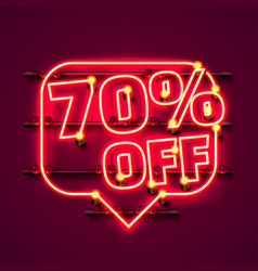 message neon 70 off text banner night sign vector image