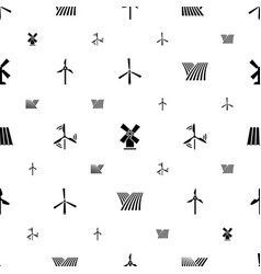 Mill icons pattern seamless white background vector