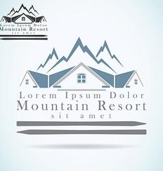 Mountain resort raster logo design template vector