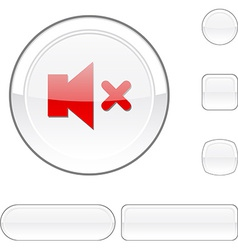 Mute white button vector