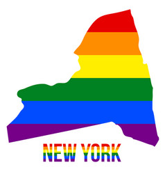 New york state map in lgbt rainbow flag comprised vector