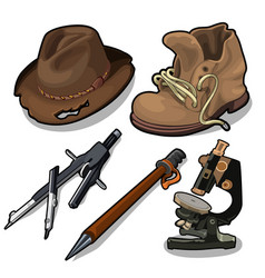 Old hat shoes microscope and other equipment vector