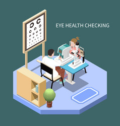 Ophthalmology isometric composition vector