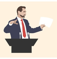 Orator stands behind a podium with microphones vector