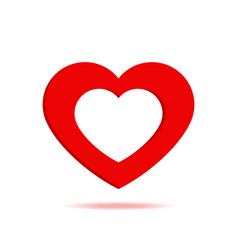 paper red heart with shadow isolated icon vector image
