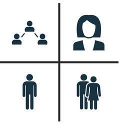 people icons set collection of beloveds vector image