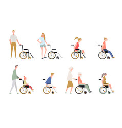 people in a wheelchair disabled and handicapped vector image