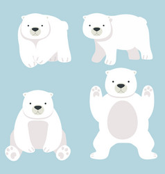 Polar bear funny cartoon set vector