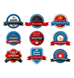 Quality and Premium product flat labels vector