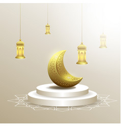 Ramadan kareem with moon and lantern background vector