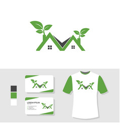 real estate nature logo design with business card vector image
