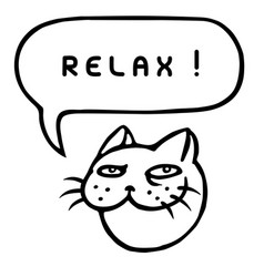 relax cartoon cat head speech bubble vector image