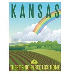 Retro travel poster for state of Kansas vector image
