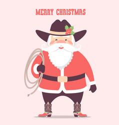 Santa claus with cowboy western hat and lasso vector