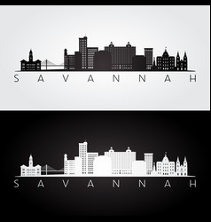 Savannah usa skyline and landmarks silhouette vector